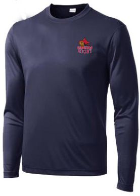 Champion long sleeve dry-fit shirt in navy with Cardinals Rugby embroidered logo