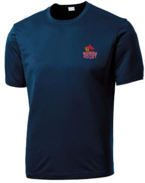 Champion short sleeve dry-fit navy shirt with Cardinals Rugby embroidered logo